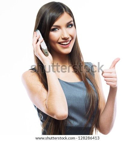Smile Business woman phone talk. Long hair model isolated . Thumb up . - stock photo