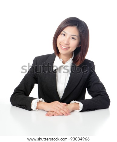 Smile business woman with white background, model is a asian beauty - stock photo