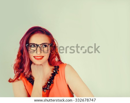 Smile. Closeup portrait head shot  happy mixed race smiling, cute confident Caucasian latina  female girl business woman isolated on green background.  Positive human emotion, feeling, expressions - stock photo