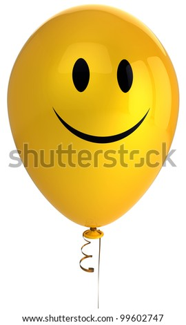 Smile face happy birthday balloon character. Holiday smiley funny decoration. Joyful party positive emotion celebration happiness icon. Psychology relax concept. Detailed 3d render. Isolated on white - stock photo