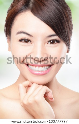 Smile happy Face of beautiful woman with health teeth and skin care isolated over green background. Beautiful young asian woman model - stock photo