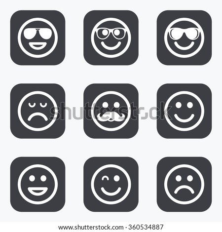 Smile icons. Happy, sad and wink faces signs. Sunglasses, mustache and laughing lol smiley symbols. Flat square buttons with rounded corners. - stock photo
