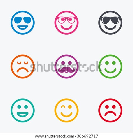 Smile icons. Happy, sad and wink faces signs. Sunglasses, mustache and laughing lol smiley symbols. Flat colored graphic icons. - stock photo