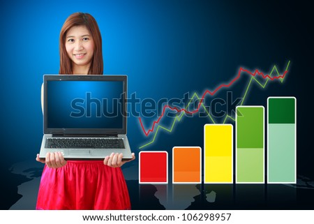 Smile lady and color bar graph - stock photo