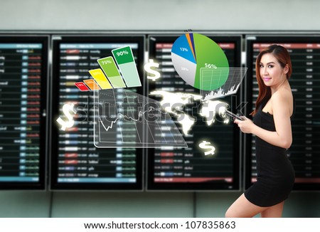 Smile lady and Graph report - stock photo
