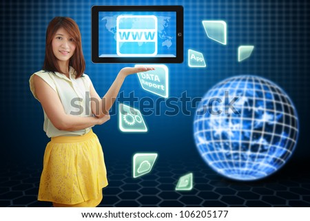 Smile lady hold digital tablet computer and WWW icon : Elements of this image furnished by NASA - stock photo