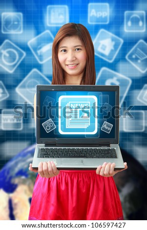Smile lady hold News icon on notebook computer : Elements of this image furnished by NASA - stock photo
