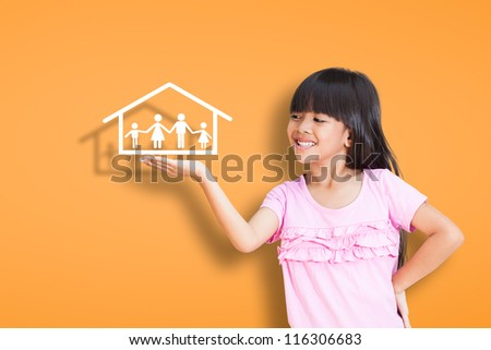 Smile little girl showing on family symbol over simply background - stock photo
