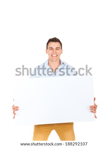 smile man hold blank board, handsome guy casual wear shirt, isolated over white background - stock photo