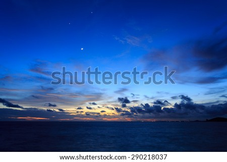 Smile moon or earth shine on sea in twilight time, Koh Samet, Rayong, Thailand - stock photo
