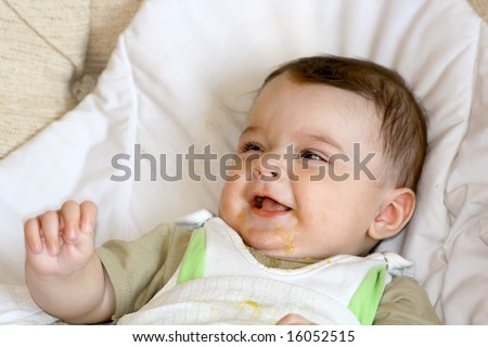 Smile of infant. - stock photo