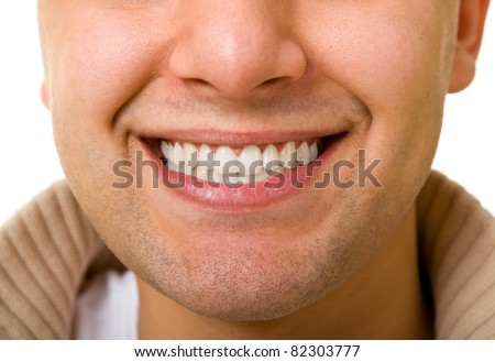 smile of the young men are very close. Teeth - stock photo