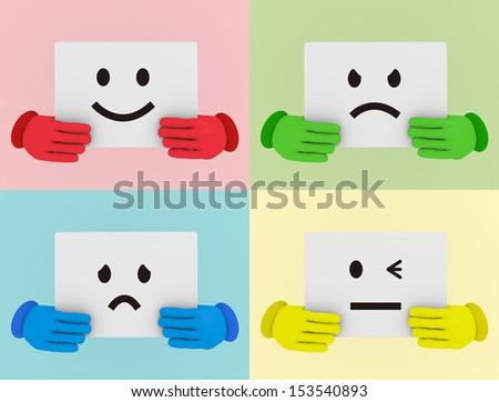 Smiles Icons - stock photo