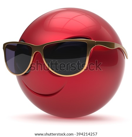 Smiley alien face head cartoon cute sunglasses emoticon monster ball red gold avatar. Cheerful funny smile invader person character toy laughing eyes joy icon concept. 3d render isolated - stock photo