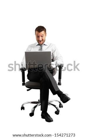 smiley amazed businessman looking at laptop isolated on white background - stock photo