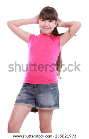 Smiley and happy beautiful young girl poses for a picture isolated on white - stock photo