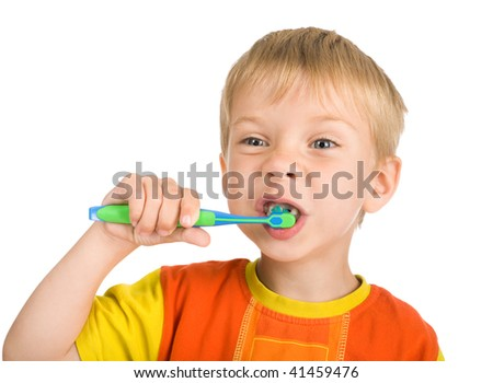 smiley boy without one teeth cleans a teeth isolated on white background - stock photo