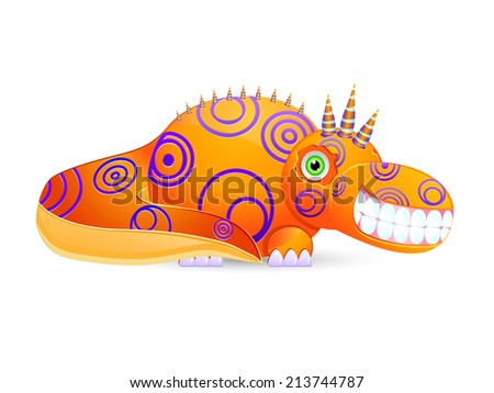 Smiley Cute Monster with Horns Isolated on White Background. Creature Icon - stock photo