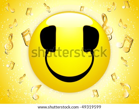 Smiley DJ Background with Music Notes and Stars. - stock photo