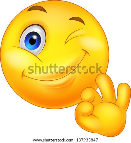 Smiley emoticon with ok sign - stock photo