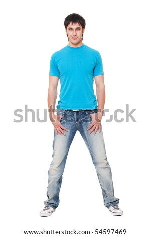 smiley guy in blue t-shirt and jeans. isolated on white background - stock photo