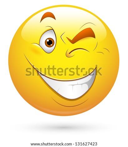 Smiley Illustration - Eye Blinking - stock photo