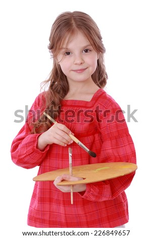 Smiley kid like an artist isolated on white on Art theme/Romantic little girl with paintbrush and wooden palette isolated - stock photo