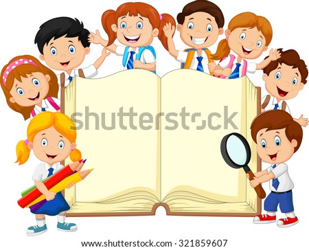 Smiley little kids holding book on isolated background  - stock photo