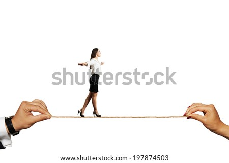 smiley woman walking on the rope. isolated on white background - stock photo