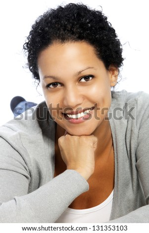Smiling African American female in a close up portrait - stock photo