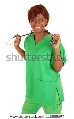 Smiling African American Nurse Posing - stock photo