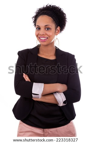 Smiling african american woman with folded arms - stock photo
