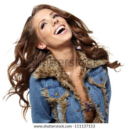 Smiling american girl - stock photo