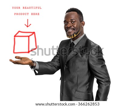 Smiling and handsome businessman portrait holding something card - stock photo