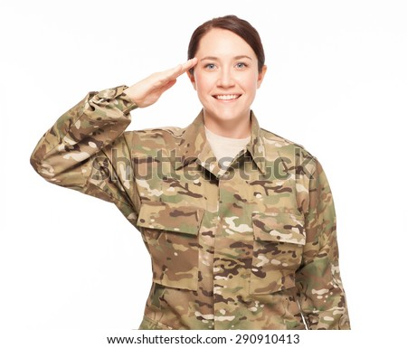 Smiling and saluting female Army soldier wearing multicam camouflage on white background. - stock photo