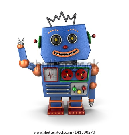 Smiling and waving vintage toy robot over white background - stock photo