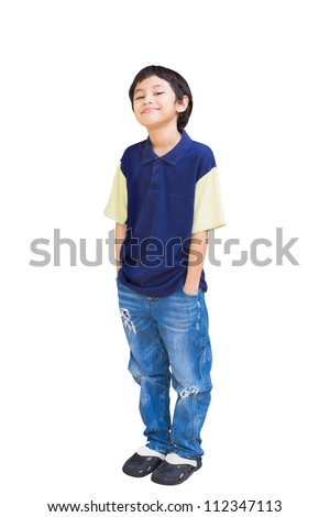 Smiling asian boy posing, Isolated on white with clippling path - stock photo