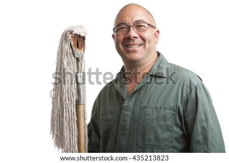 Smiling Asian Janitor or Maintenance Worker isolated over white background.  He is wearing a green jump suit and holding a mop. - stock photo