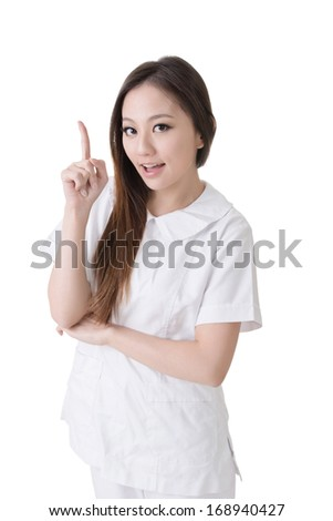 Smiling Asian nurse get and idea, closeup woman portrait isolated on white background. - stock photo