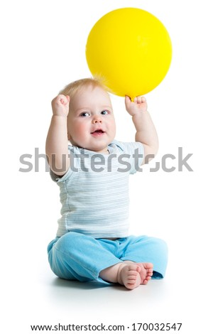 Smiling baby boy  with yellow ballon in his hand isolated on white - stock photo