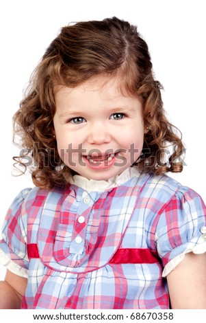 Smiling baby girl isolated over white background - stock photo