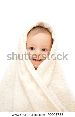 smiling baby in towel - stock photo