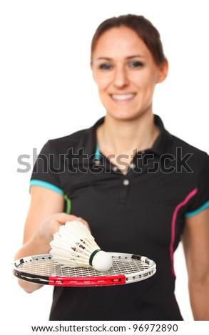 smiling badminton player on white background - stock photo
