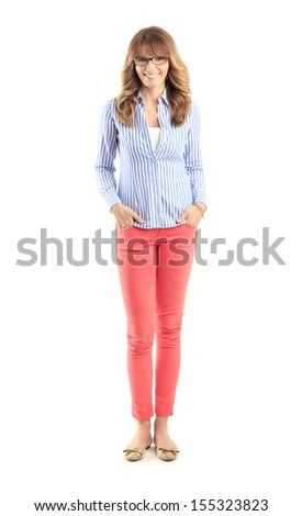 Smiling beautiful mature lady looking at camera against white background  - stock photo