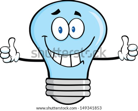 Light bulb cartoon character giving a double thumbs up stock photo