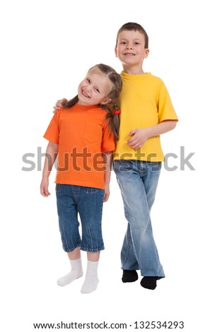 smiling boy and girl isolated on white - stock photo