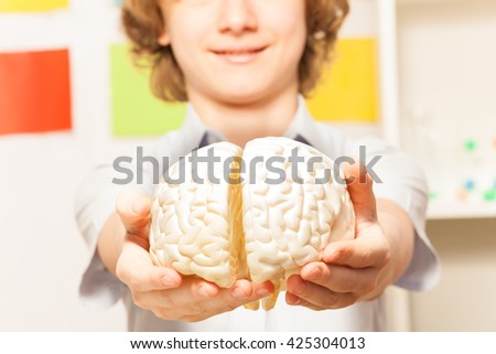 Smiling boy holding cerebrum model at his hands - stock photo