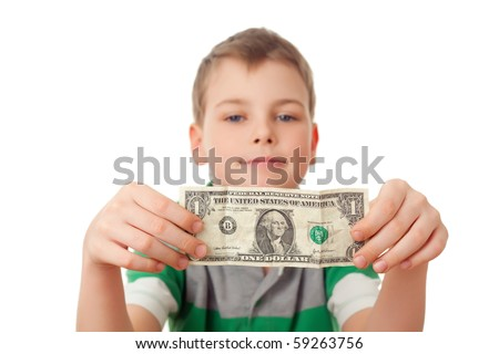 smiling boy holds one dollar in both hands  isolated on white background - stock photo