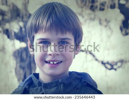 smiling boy portrait - stock photo