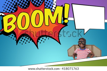 Smiling boy pretending to be pilot against the word boom - stock photo